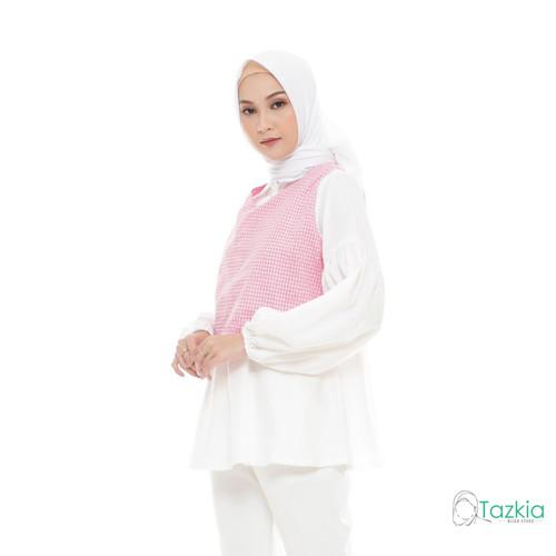 Foto Produk Atasan Muslim Wanita   Yuzu Blouse Pink   S M L XL   Gingham Top - M dari Tazkia Hijab Store