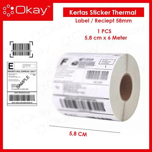 Foto Produk KERTAS STICKER THERMAL 58 MM cocok untuk printer Label 58MM dari OKAY INDONESIA