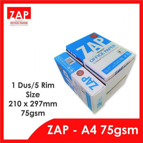 Foto Produk Kertas A4 HVS 75 Gram ZAP - 1 Dus/5 Rim/2.500 Lmbr - Print Faster dari Zap Official Paper