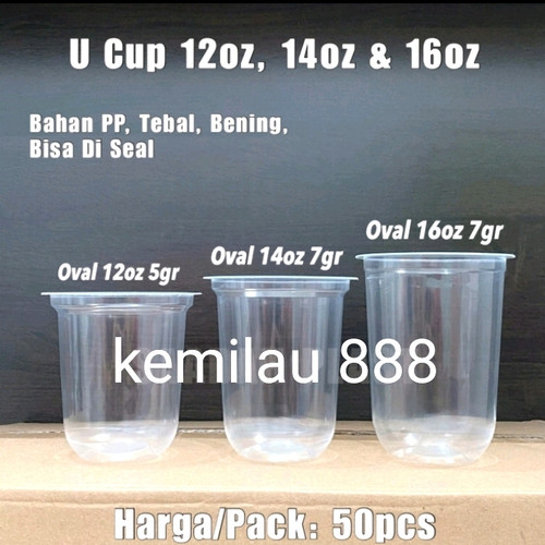 Foto Produk gelas plastik oval uk 12 oz 14 oz 16 oz/u pp bulat (1 roll 50 pcs) - 12 dari Kemilau 888