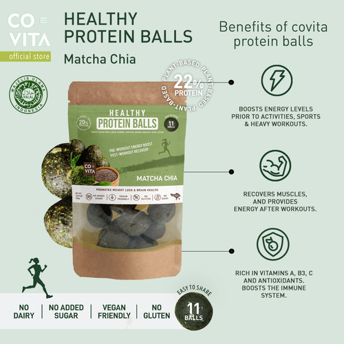 Foto Produk Covita Healthy Protein Balls - Matcha Chia - Snack Sehat dari Covita