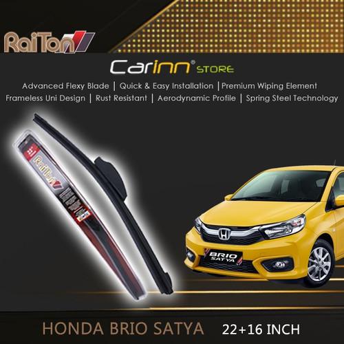"Foto Produk Raiton Sepasang Wiper Frameless Kaca Depan Brio Satya 22"" & 16"" dari Carinn Store"
