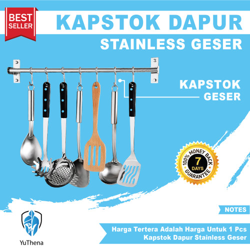 Foto Produk Kapstok Dapur Stainless Geser Minimalis Gantungan Pisau Wajan Kuali dari YuThena Official Store
