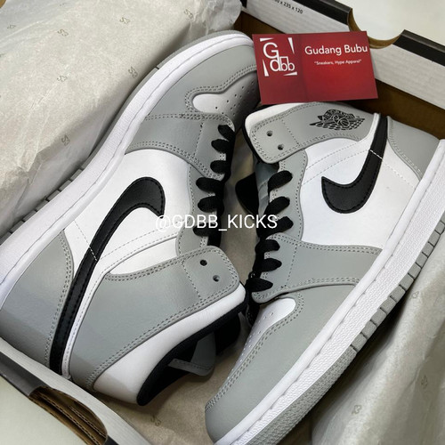 Foto Produk Nike Air Jordan 1 Mid Light Smoke Grey ORIGINAL MATERIAL GUARANTEE dari Gudang Bubu