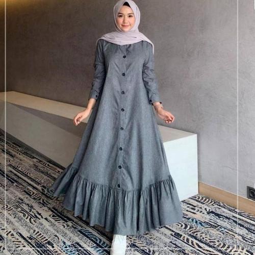 Foto Produk Baju Gamis Muslim Dress Remaja Wanita Dewasa Kekinian Terbaru Murah - Abu-abu dari damris shop