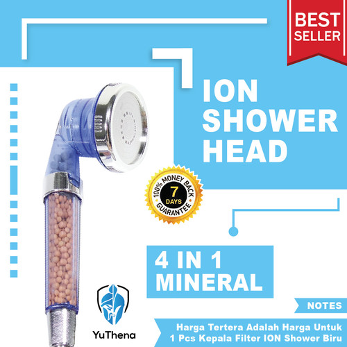 Foto Produk Mineral Ion Shower Head   Water Filter Ionizer for Healthy Life Biru dari YuThena Official Store