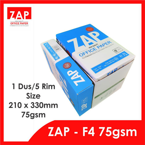 Foto Produk Kertas F4 HVS 75 Gram ZAP - 1 Dus/5 Rim/2.500 Lmbr - Print Faster dari Zap Official Paper