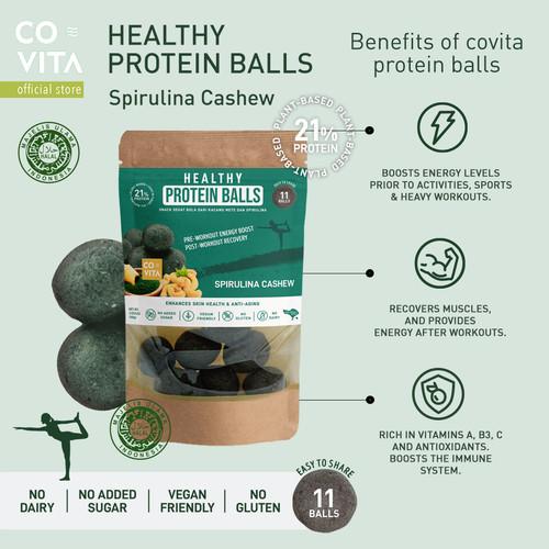 Foto Produk Covita Healthy Protein Balls - Spirulina Cashew - Snack Tanpa Pengawet dari Covita
