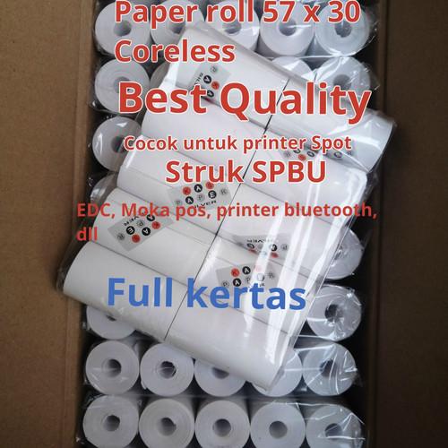 Foto Produk (ISI 100roll) Kertas Kasir Thermal Paper Roll 57 x 30 / 57x30 polos dari smart buyer solution