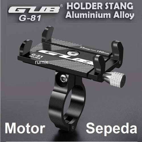 Foto Produk GUB G81 HP Holder G-81 Handphone Phone Aluminium Stang Sepeda Motor dari Rumix