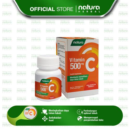 Foto Produk Vitamin C 500mg - Menjaga Daya Tahan Tubuh - 1 Botol @ 30 Kaplet SS dari naturaherbal
