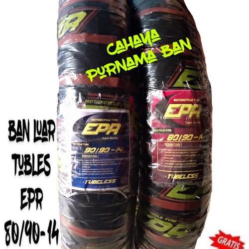 Foto Produk PAKET 2 BAN LUAR EPR TUBLES 80/90-14 & 90/90-14 ALL MOTOR METIC dari Cahaya purnama ban
