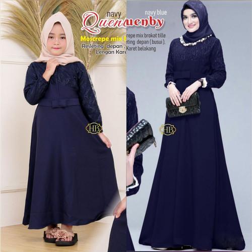 Foto Produk Busana Muslim Couple Ibu Dan anak Baju Gamis Syari Atasan Brukat pesta - navy blue dari Chank Cunk Batik
