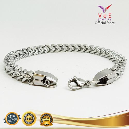 Foto Produk Gelang Titanium Perak Rantai Kotak - VeE Gelang Tangan Wanita Pria dari Vee Jewelry