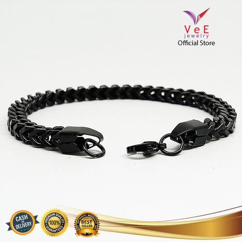 Foto Produk Gelang Titanium Hitam Rantai Kotak - VeE Gelang Tangan Wanita Pria dari Vee Jewelry