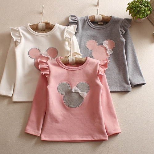 Foto Produk Kaos Baju Lengan Panjang Anak Perempuan Minnie Import Cotton 1-6 Tahun - PINK, 110(1-3thn) dari Levin Mart Sunter