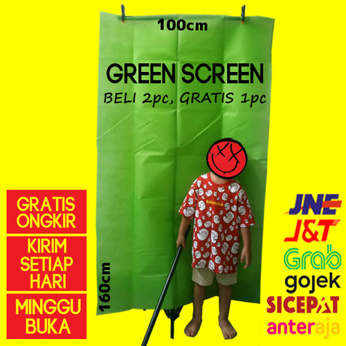 Foto Produk Green screen kain background hijau Murah Baru - 1x1,6 dari cokacase
