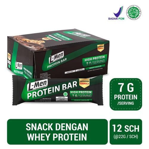 Foto Produk L-Men Protein Bar Crunchy Chocolate 12 Sch (7g protein / serving) dari NutriMart