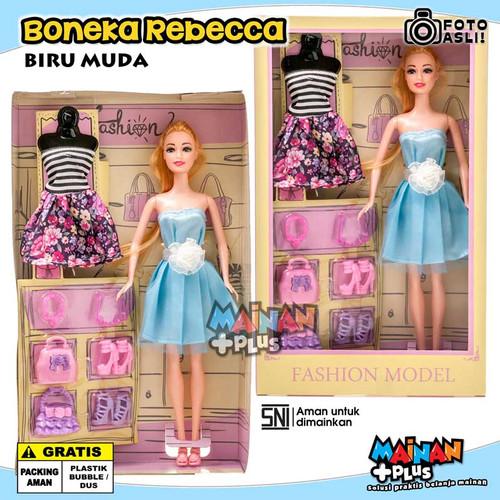 Foto Produk Mainan Anak Perempuan Boneka Cantik Rebecca Fashion Doll Set SNI - Biru Muda dari MainanPlus