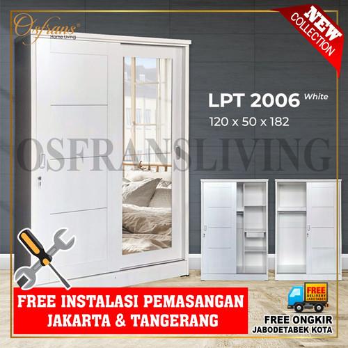 Foto Produk Lemari Pakaian 2 Pintu Sliding Besar + Cermin LPT 2006 Harga Pabrik - Putih dari Osfrans Home Living