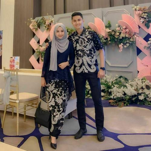 Foto Produk Batik Couple Kebaya Brokat Hem Baju Pesta Kondangan Lamaran Tunangan - L dari Ben Ahsan Collection
