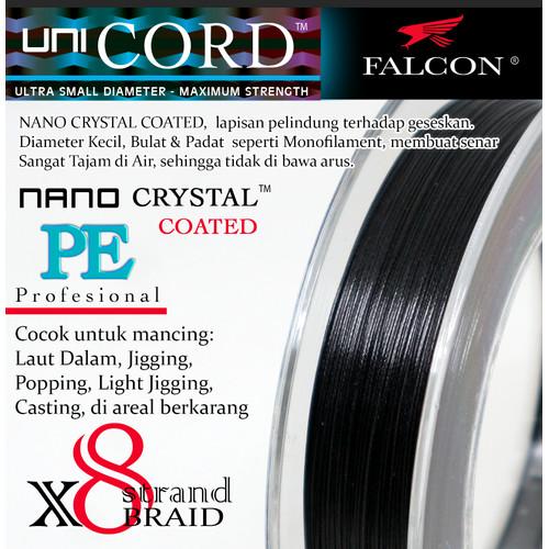 Foto Produk Senar Pancing PE X8 Falcon Uni Cord Nano Crystal Coated 400M - Hitam, PE 1.0 dari Falcon Indoesia