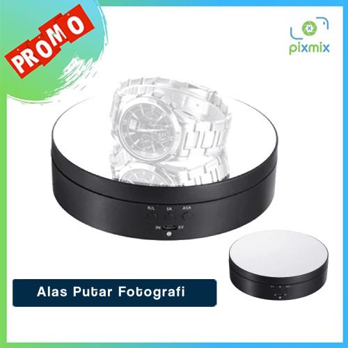 Foto Produk Alas Putar Fotografi Rotating Display Stand Base Mirror Surface 13cm - Hitam dari pixmix