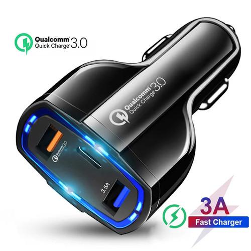 Foto Produk Car Quick Charger Mobil Fast Charging 7A 35W Qualcomm Type C 3 Port dari KLIK MOTORSPORT