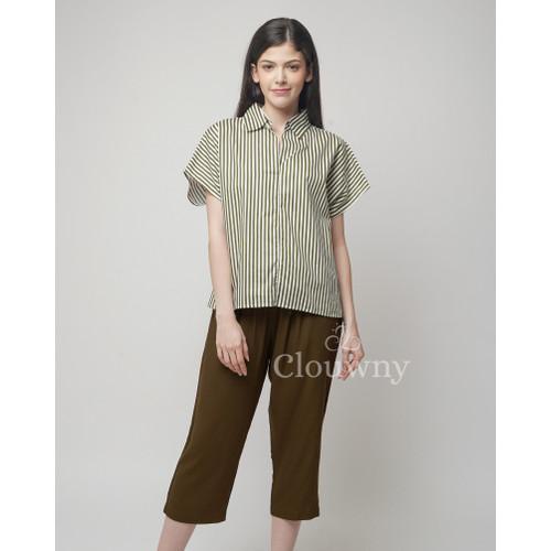 Foto Produk Odena Stripes Set Clouwny Homewear Premium Cotton Setelan Celana wanit - Army dari Clouwny