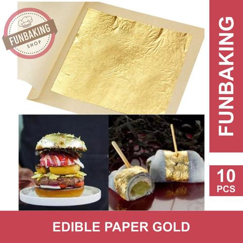 Foto Produk FunBaking - 10Pcs GOLD EDIBLE LEAF SHEET KERTAS EMAS FOOD GRADE 24K dari FunBaking