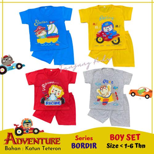 Foto Produk Stelan setelan baju kaos anak bayi laki laki cowok cowo lucu termurah - GREY-PILOT, S dari Tanjung Kids
