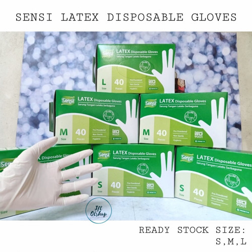 Foto Produk SENSI LATEX GLOVE Sarung Tangan Karet Medis Gloves Hand Scoon isi 40 - S dari Jftolshop
