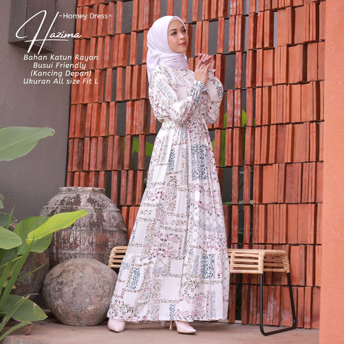 Foto Produk Homey Dress Motif-Homey Dress Hazima-Bahan Katun Rayon-Gamis Wanita - white, L dari BeautyOneSurabaya