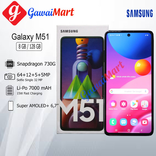 Foto Produk SAMSUNG GALAXY M51 8/128GB RAM 8GB ROM 128GB GARANSI RESMI - Putih dari Gawai Mart