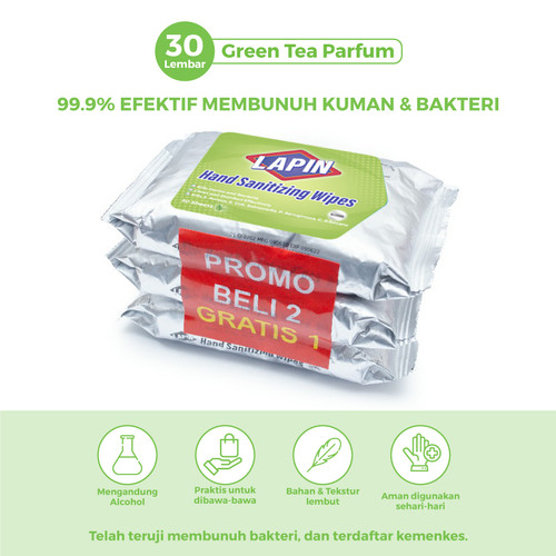 Foto Produk BUY2 GET1 Lapin Tisu Basah Alcohol Hand Sanitizing Green Tea 30s dari Lapin Official