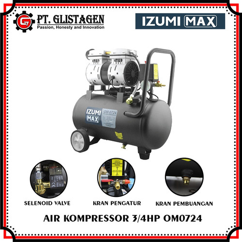 Foto Produk Mesin Kompresor Angin Listrik Izumi Max Oilles Silent 3/4HP24L OM 0724 dari PT. GLISTAGEN