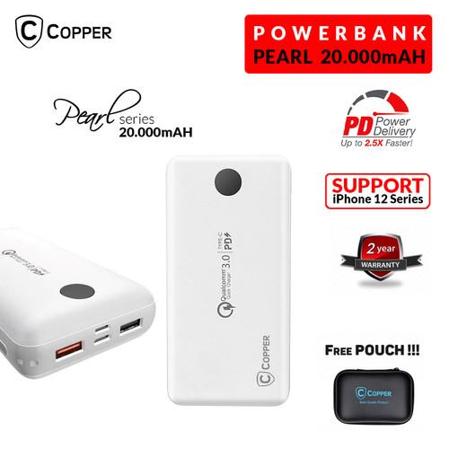 Foto Produk COPPER POWERBANK 20000 MAH - PEARL SERIES (FREE TRAVEL POUCH) - Putih dari Copper Indonesia
