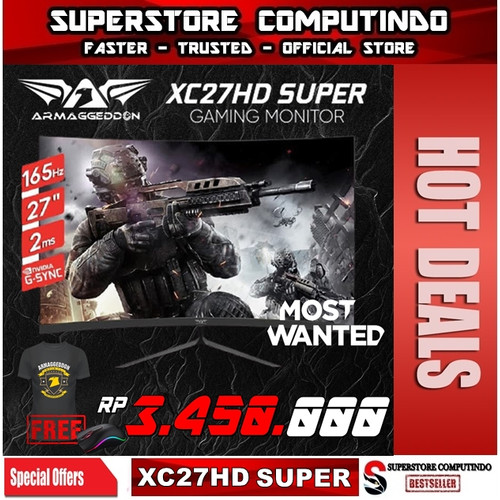 Foto Produk Armaggeddon Gaming Monitor Pixxel+ Xtreme Series XC27HD 165Hz-Best Buy dari SuperStore Computindo