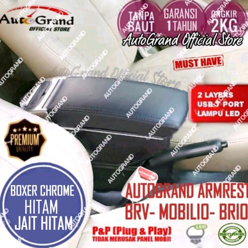 Foto Produk Console Box Armrest BRV Brio Mobilio Ignis Type 7 USB Port 7 Port LED - BC jahit hitam dari AutoGrand