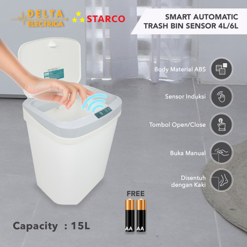Foto Produk Starco Smart Otomatis Trash Bin Tempat Sampah Tong Sampah Sensor 15L dari Delta Electrica