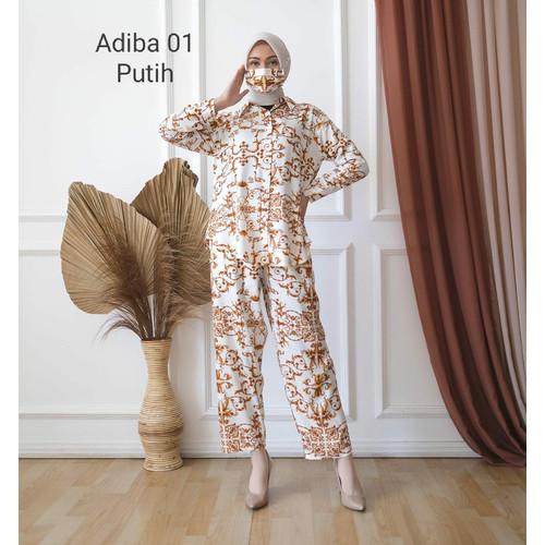 Foto Produk Baju Tidur Wanita Set Piyama Batik Celana Panjang Pajamas Free Masker - Putih dari Victoria Grosir