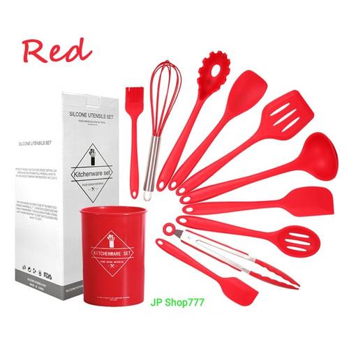 Foto Produk Sutil Silikon Utensil set 11 pcs Spatula tahan panas peralatan masak - Merah dari JP Shop777