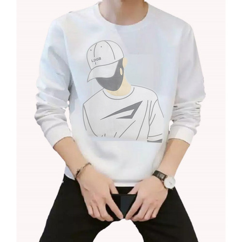 Foto Produk FortKlass MAN Sweater Pria Lengan Panjang Unisex - Putih dari FortKlass
