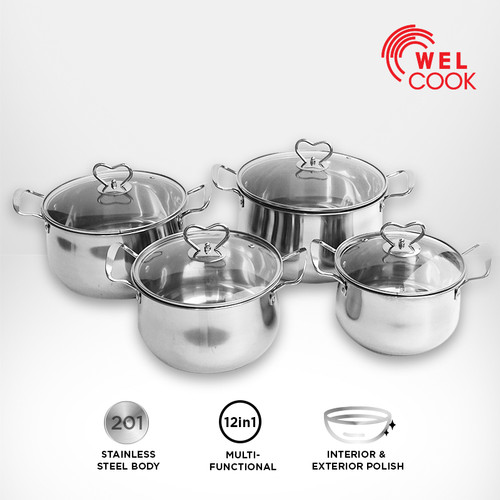 Foto Produk Welcook Panci Set Stainless Steel Kukus 8 Pcs dari Welcook Cookware