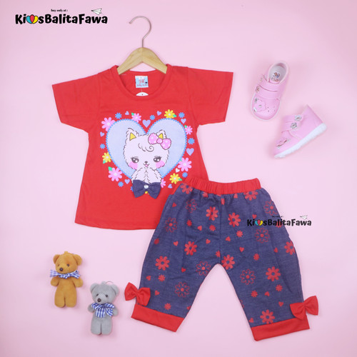 Foto Produk Setelan Lisa uk 1-6 Tahun / Baju Anak Perempuan Kaos Lengan Pendek - 1-3 tahun, Merah dari Kios Balita Fawa
