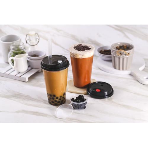 Foto Produk Gelas Plastik Boba/Cheese Tea/ Cup Injection PP 500ml/ Cup+Lid+Cap - Hitam dari WINGOH
