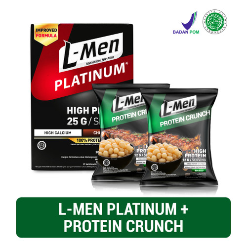 Foto Produk L-Men Platinum Choco Latte Box (6 Sch) + 2x L-Men Protein Crunch (20gr dari NutriMart