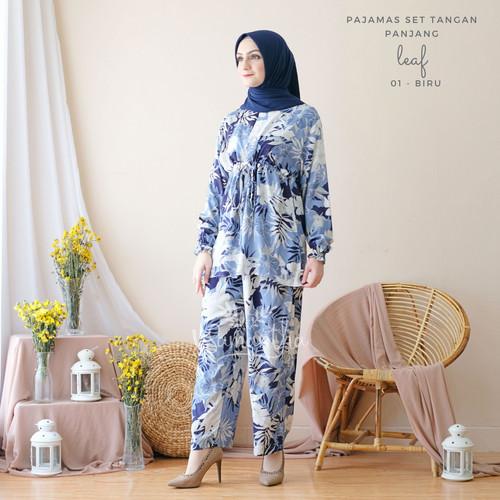 Foto Produk vSamantha Pajamas Set Celana Muslim BUSUI Friendly Leaf 01 - Biru dari vSamantha