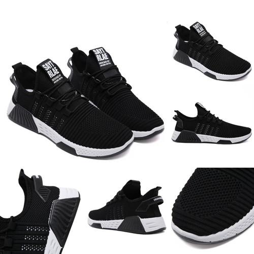 Foto Produk PVN Sepatu Sneakers Hitam Pria Sport Shoes Black 449 - black white A, 40 dari PVN Official Store