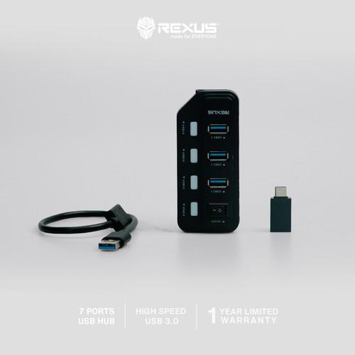 Foto Produk Rexus USB Hub 3.1 H332 7 Port + Converter Type C dari Rexus Official Store